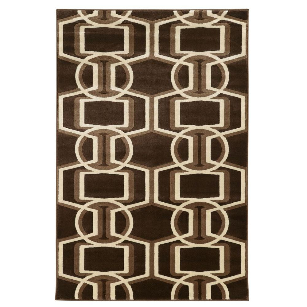 Linon Home Decor Roma Collection Bridle Chocolate and Beige 8 ft.