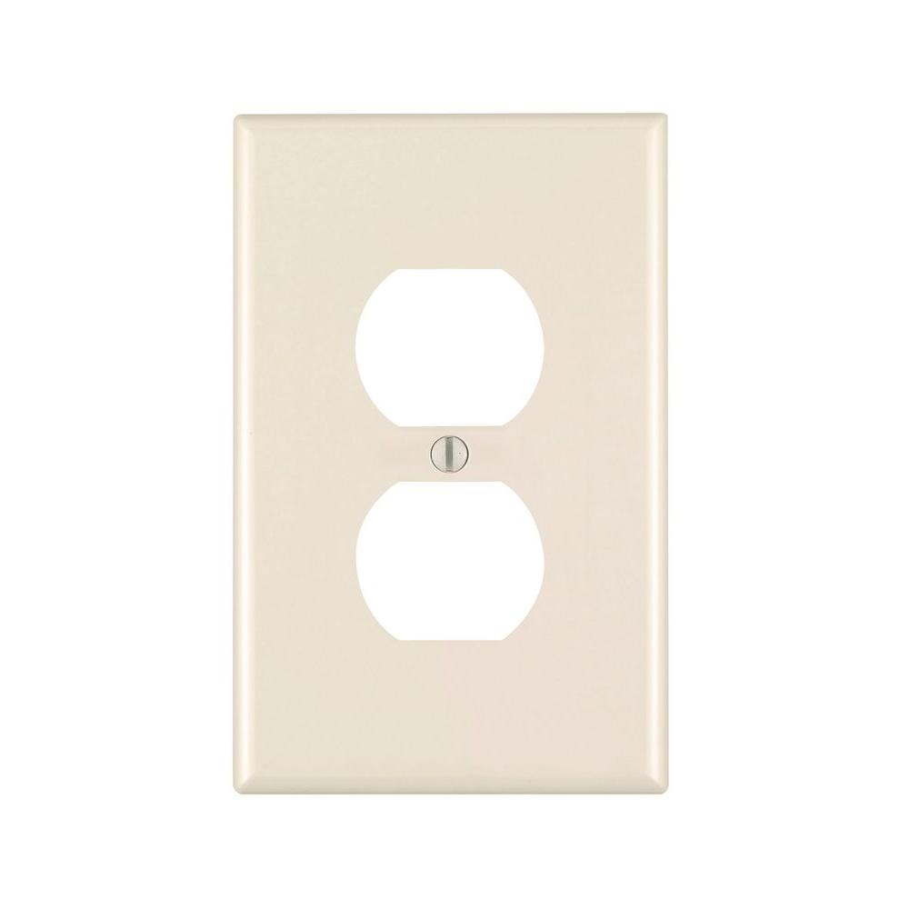 Leviton 1-Gang Jumbo Duplex Outlet Wall Plate, Light Almond-R56-78103-00T - The
