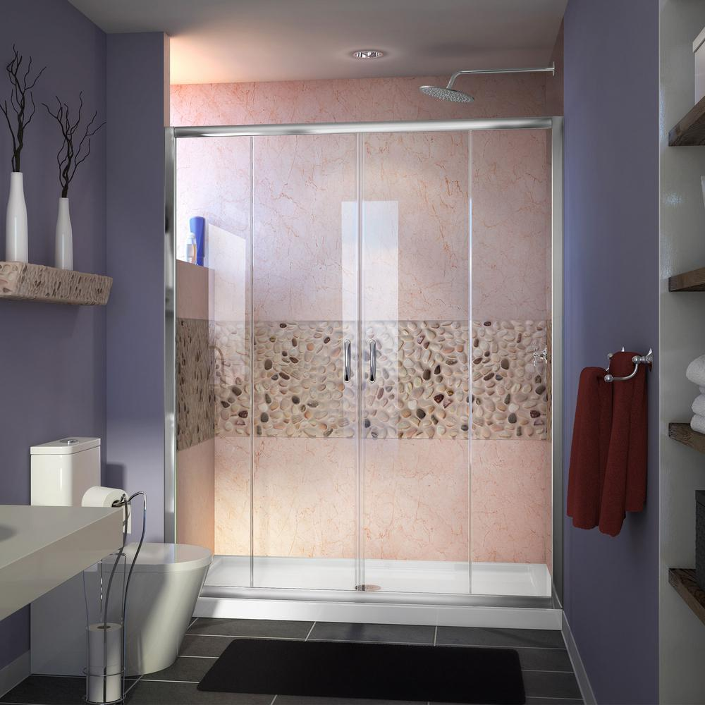 DreamLine Visions 32 in. x 60 in. x 76.75 in. Framed Sliding Shower Door in Chrome with Left Drain Acrylic Base and Back Walls Kit