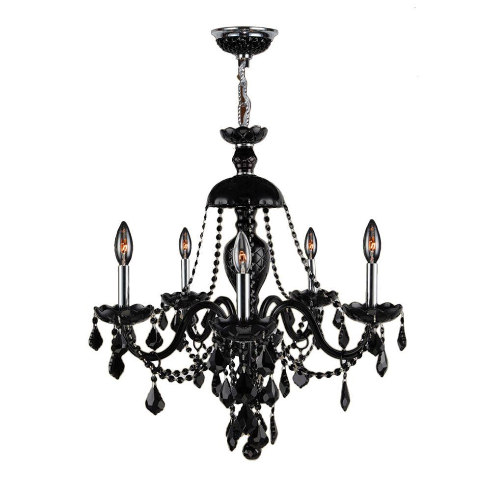 Provence Collection 5-Light Polished Chrome and Black Crystal Chandelier