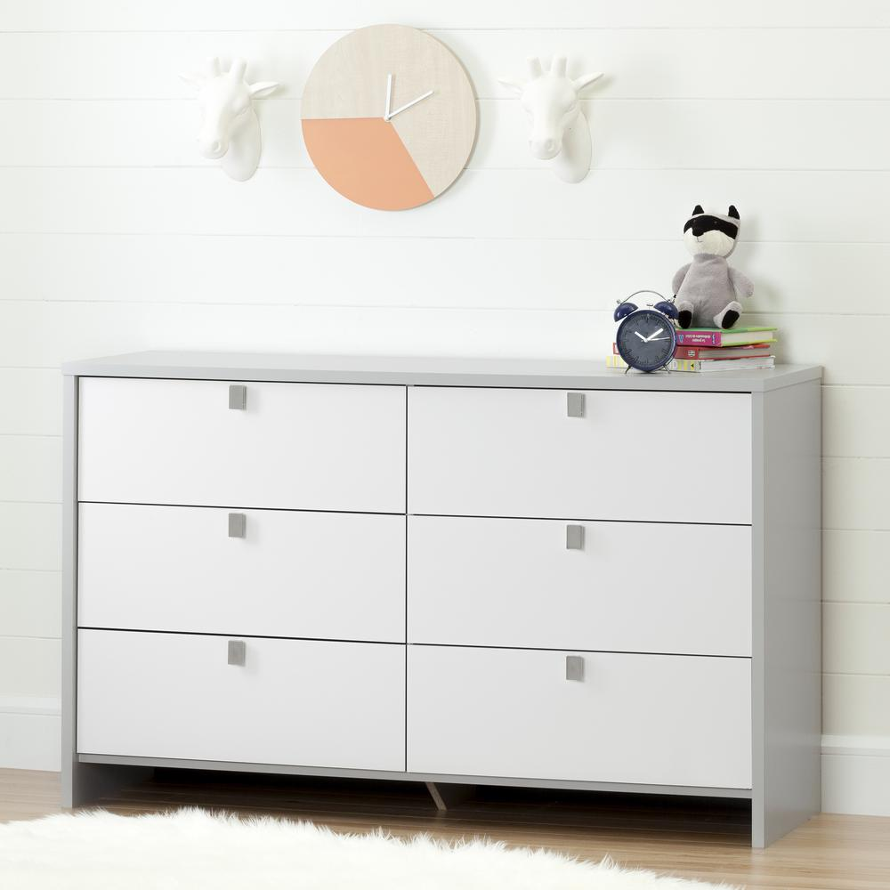 Cookie 6 Drawer Soft Gray and Pure White Dresser. Dressers   Bedroom Furniture   Furniture   The Home Depot