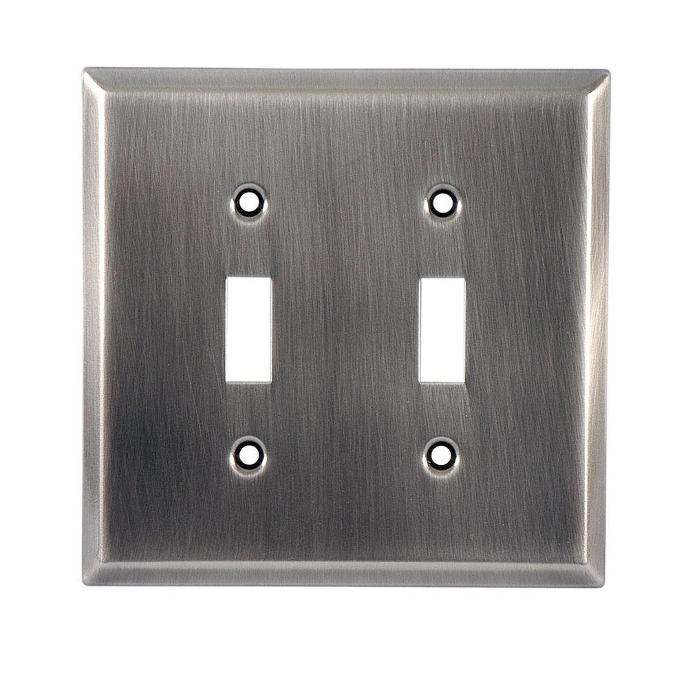 GE 2 Toggle Switch Steel Wall Plate - Chrome-57291 - The