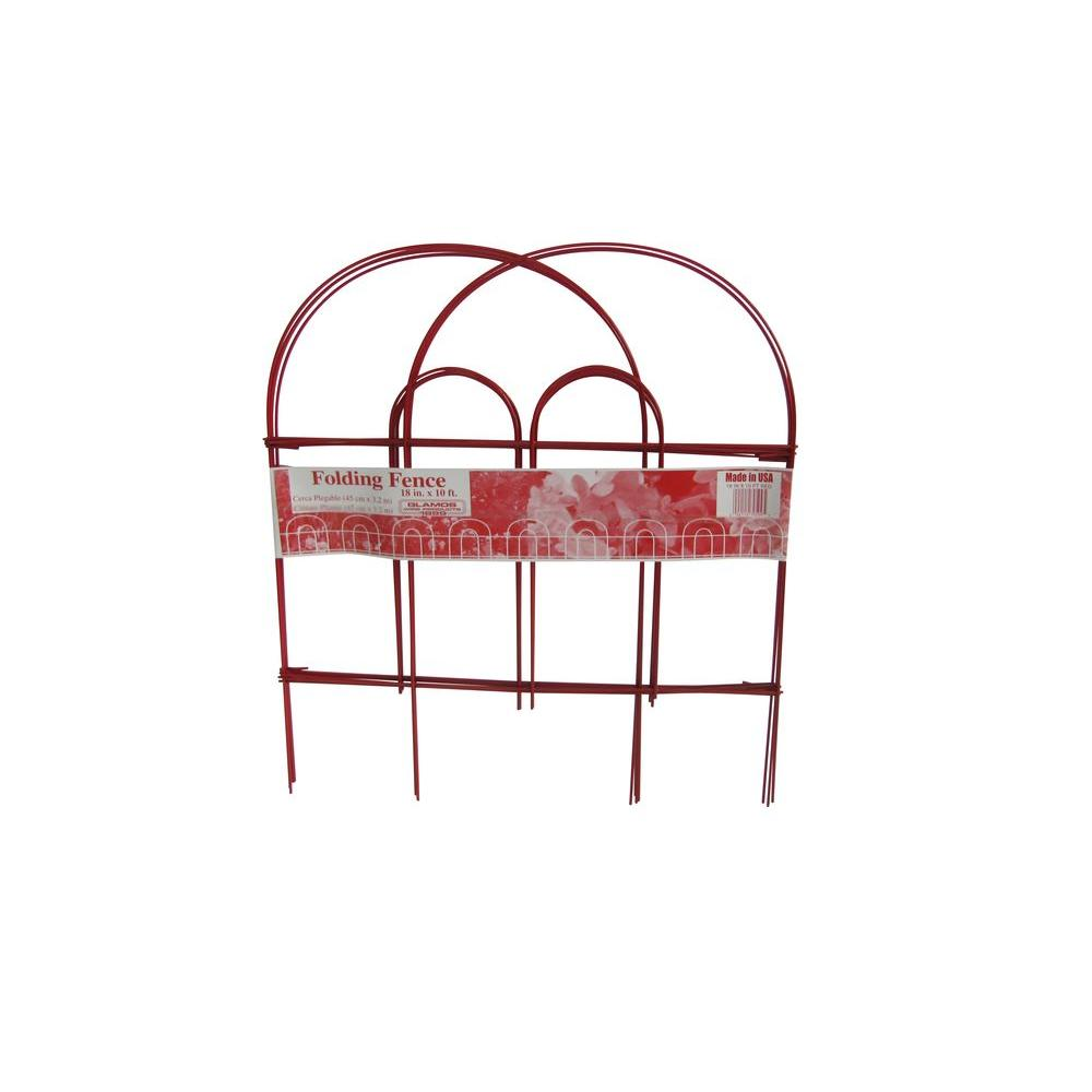 Glamos Wire Products 18 in. x 10 ft. Red Folding Wire Garden Fence