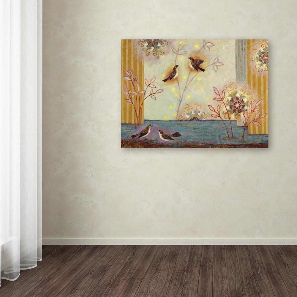 "Trademark Fine Art 14 in. x 19 in. ""Oakview Terrace Birds"""