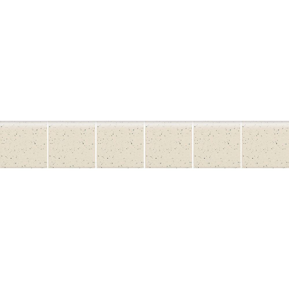 Daltile Keystones Unglazed Pepper White 2 in. x 12 in. x 6 mm Porcelain Mosaic Bullnose Floor and Wall Tile