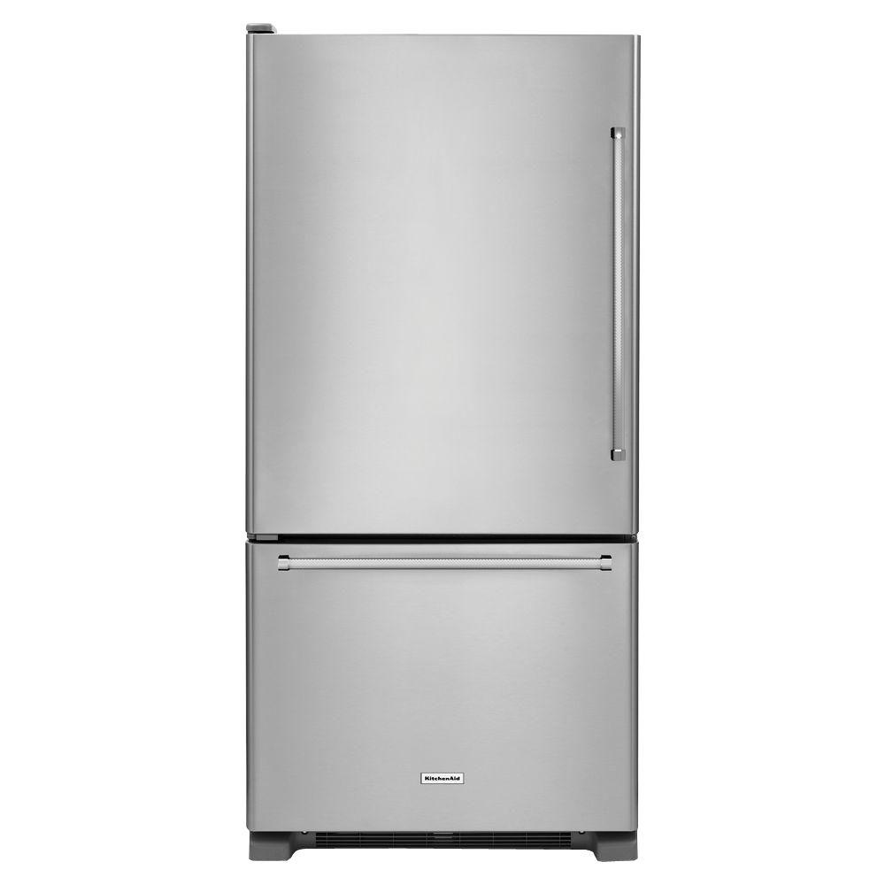 30 in. W 18.7 cu. ft. Bottom Freezer Refrigerator in Stainless