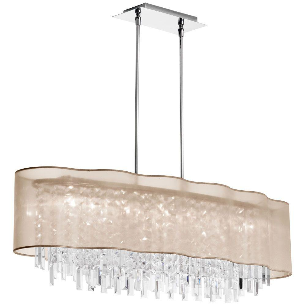 Radionic Hi Tech Illusion 8-Light Polished Chrome Crystal Pendant with Gold Laminated Organza Shade