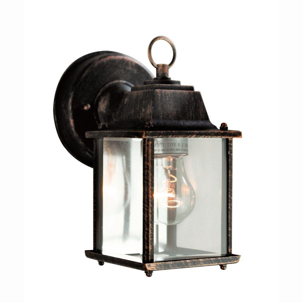 1-Light Black Copper Outdoor Wall Coach Lantern with Clear Glass