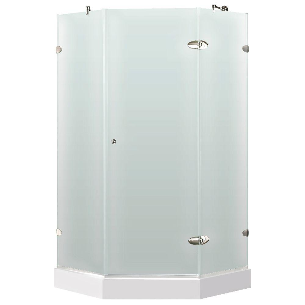Vigo 38 in. x 78 in. Frameless Neo-Angle Shower Enclosure in Chrome and Frosted Glass with Base