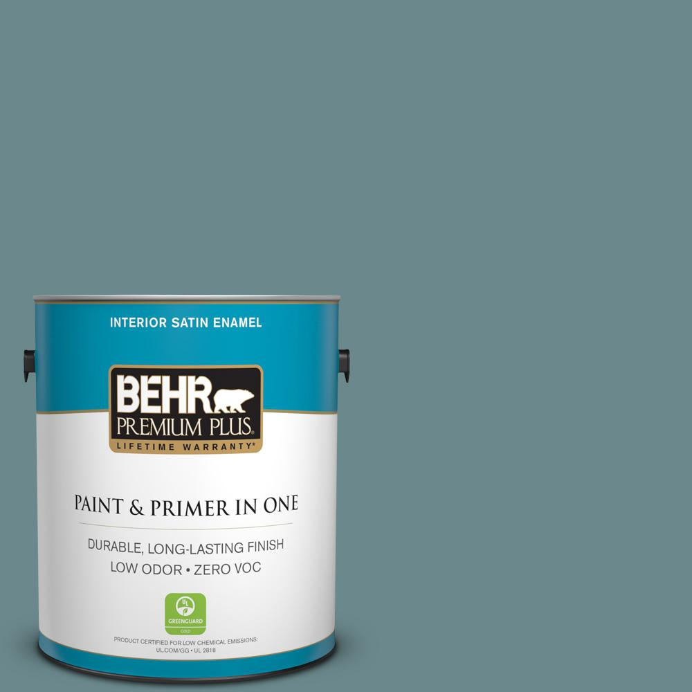 1 gal. #PPU13-06 Polaris Blue Zero VOC Satin Enamel Interior Paint