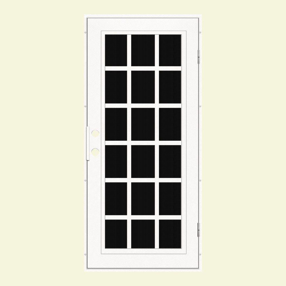 Unique Home Designs 36 in. x 80 in. Classic French White Right-Hand Recessed Mount Aluminum Security Door with Charcoal Insect Screen