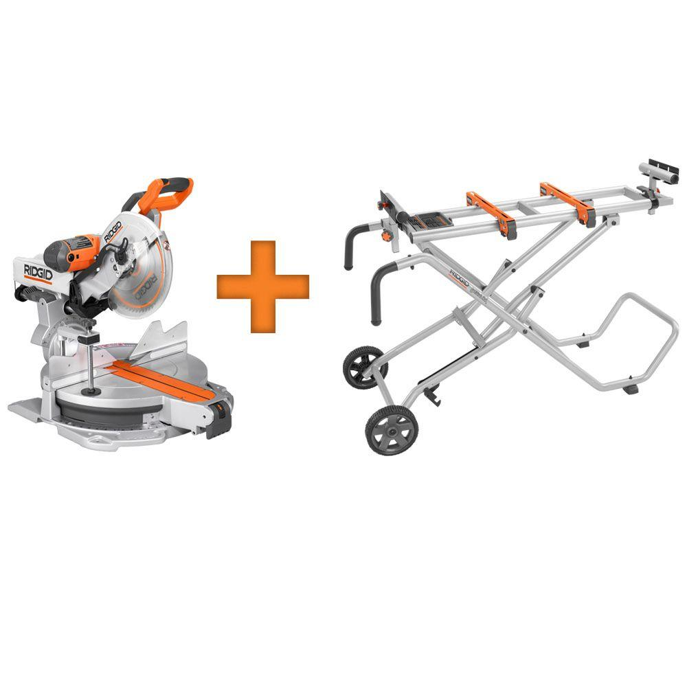 RIDGID 12 in. Sliding Compound Miter Saw with Free Mobile Miter Saw Stand