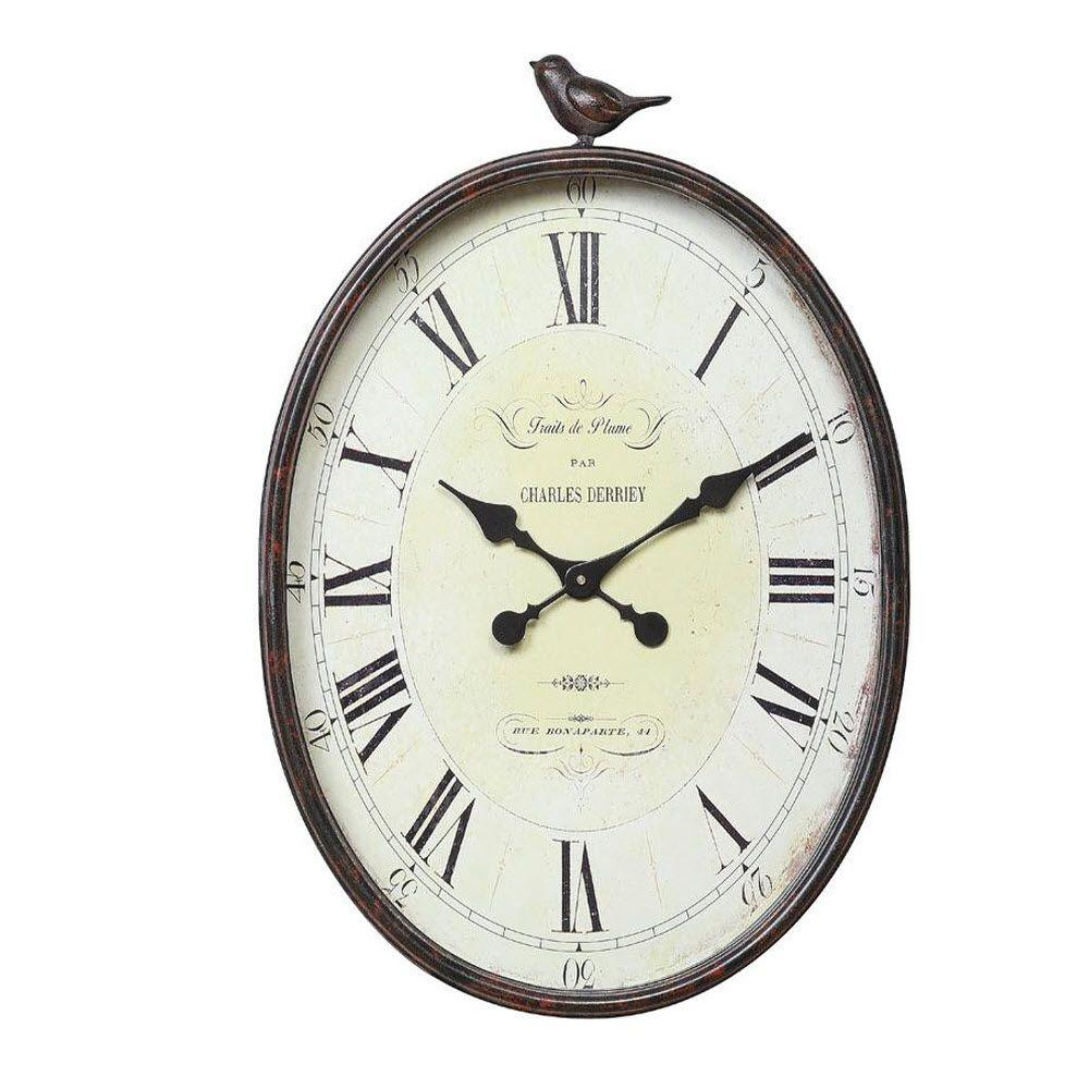 Home Decorators Collection Traits de Plume 22.25 in. H x 17 in. W Oval Wall Clock with Bird