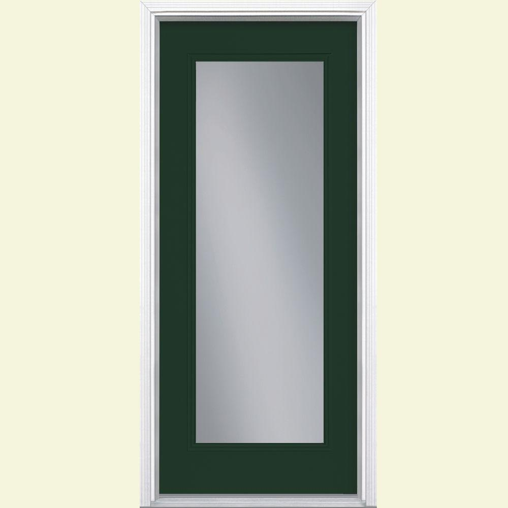 36 in. x 80 in. Full Lite Painted Smooth Fiberglass Prehung