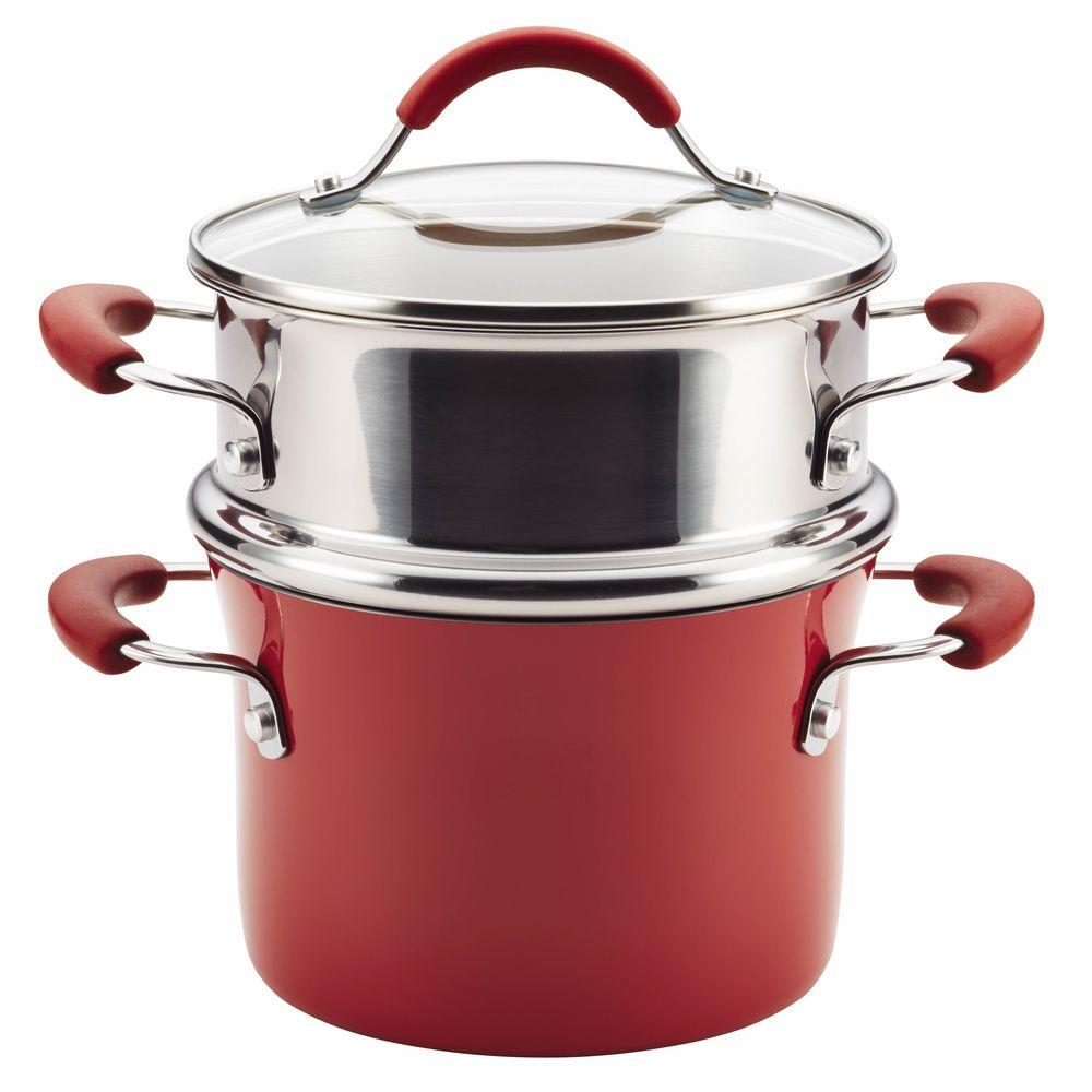Cucina Hard Enamel Nonstick 3 qt. Covered Multi-Pot Set with Steamer