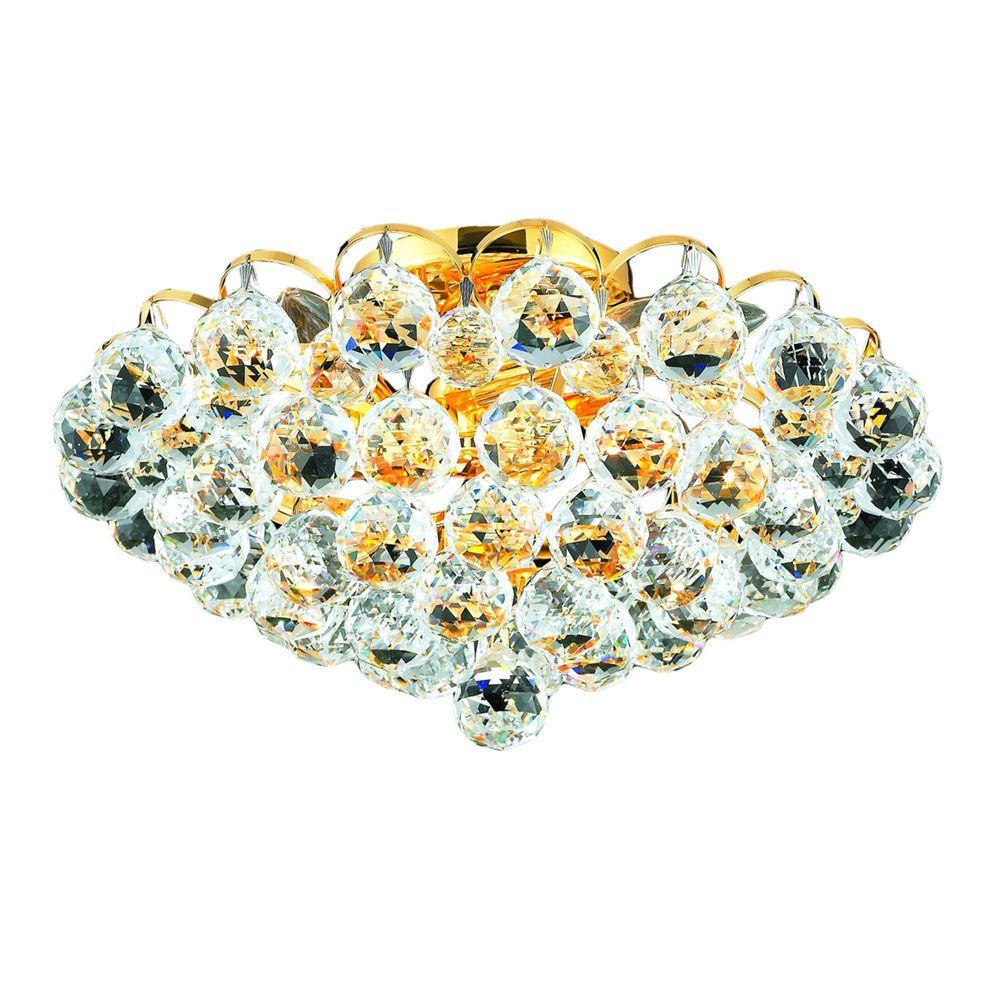 4-Light Gold Flushmount with Clear Crystal