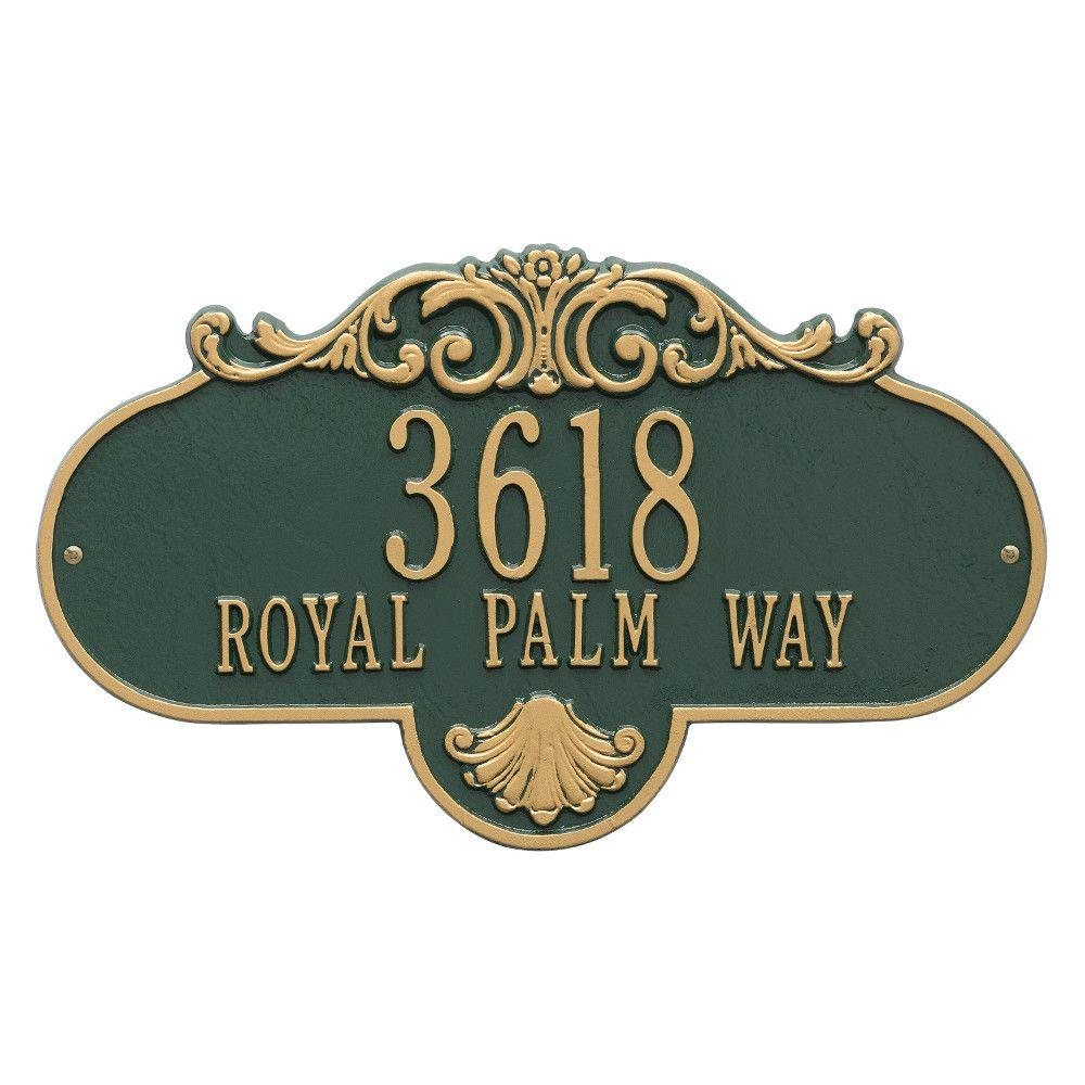 Oval Rochelle Grande Green/Gold Wall 2-Line Address Plaque