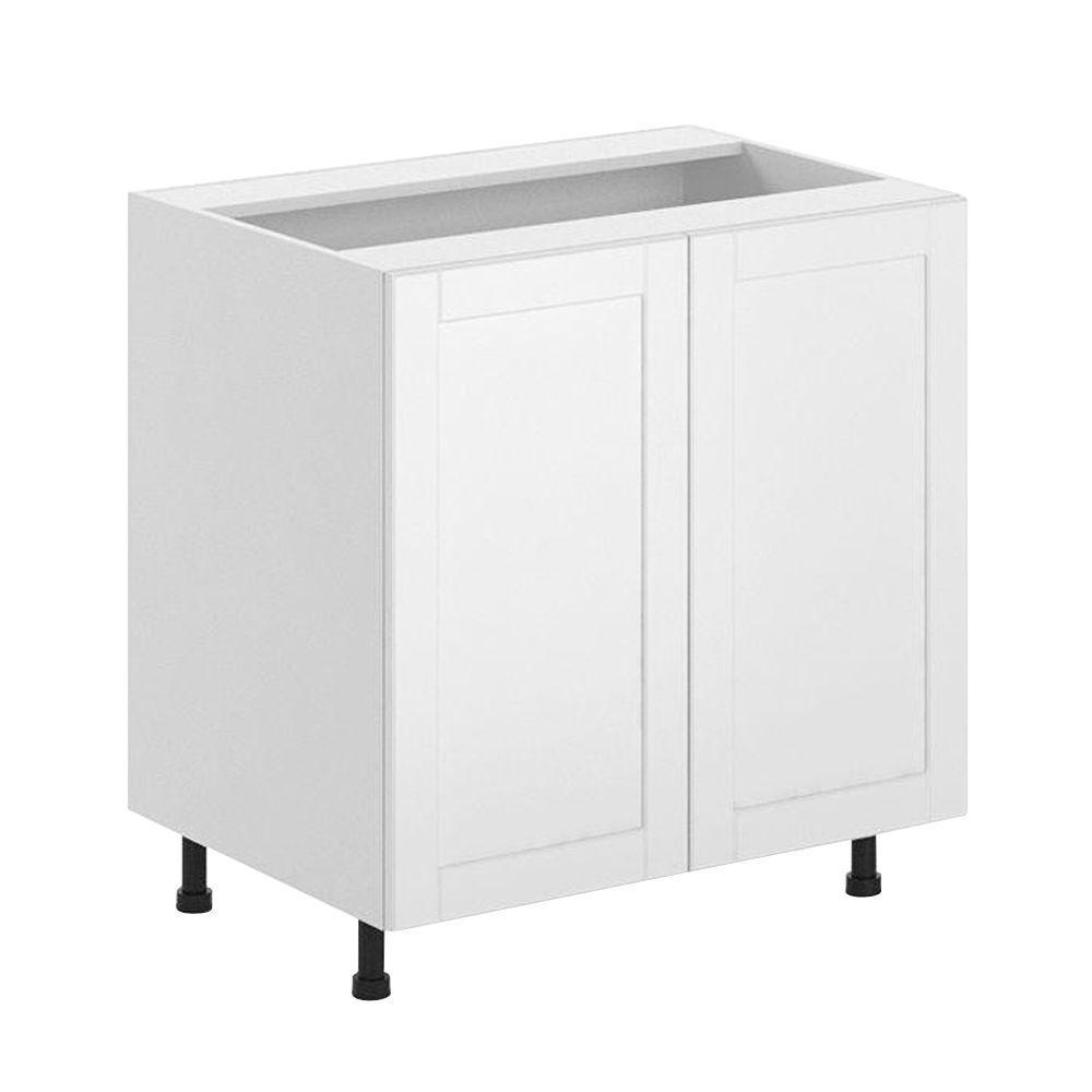 Fabritec Ready to Assemble 33x34.5x24.5 in. Amsterdam Full Height Base Cabinet in White Melamine and Door in White
