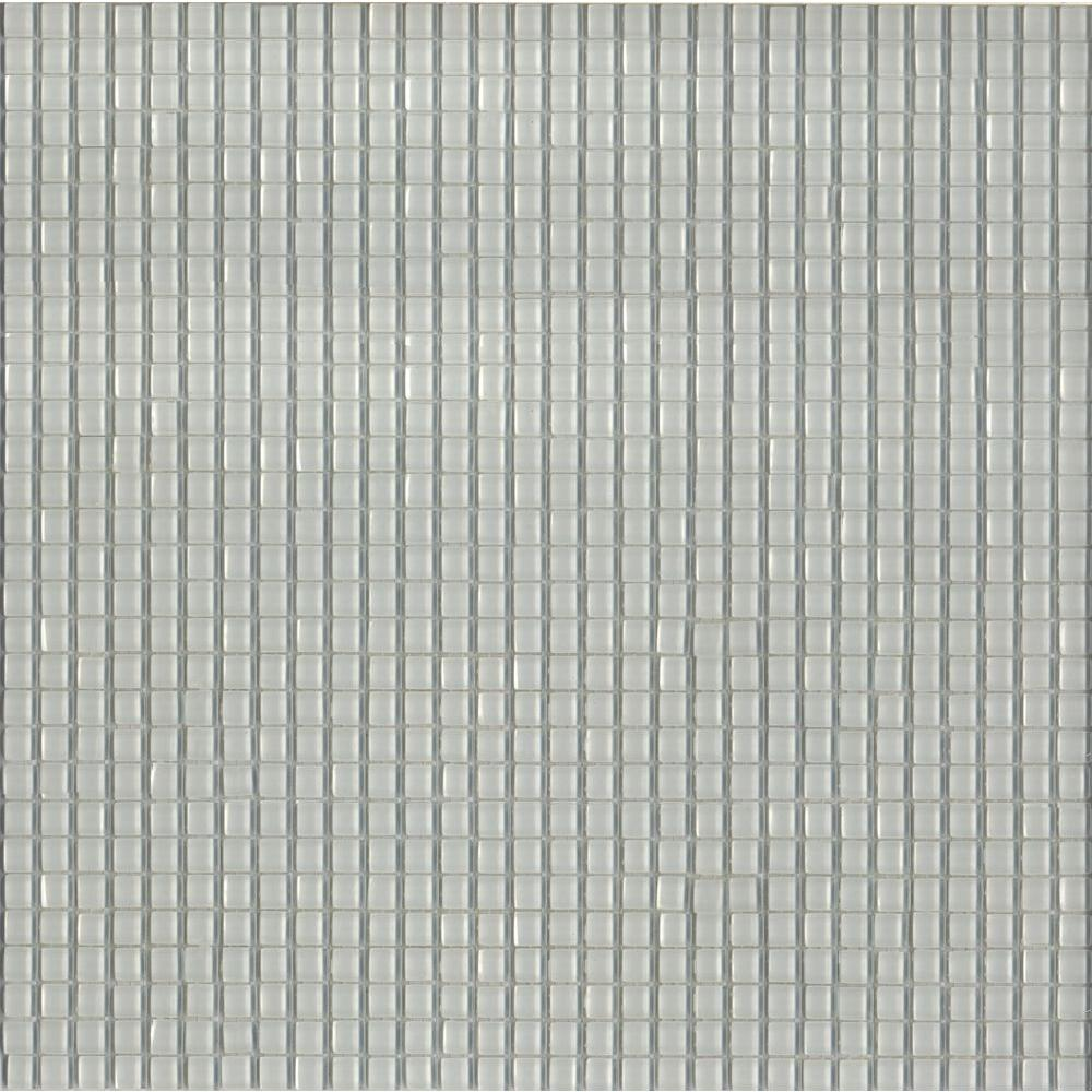 Elementz 12.8 in. x 12.8 in. Venice Winter White Glossy Glass Tile-DISCONTINUED