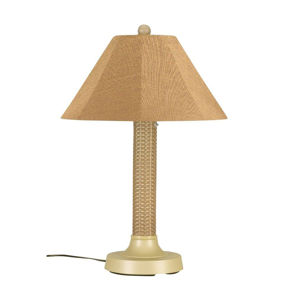 Bahama Weave 34 in. Mojavi Outdoor Table Lamp with Straw Linen