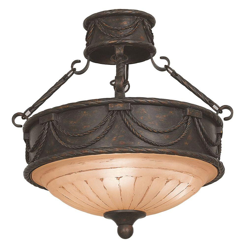 Yosemite Home Decor Isabella Lighting Collection 3-Light Earthen Bronze Semi-Flush Mount Light with Spanish Scalloped Glass Shade