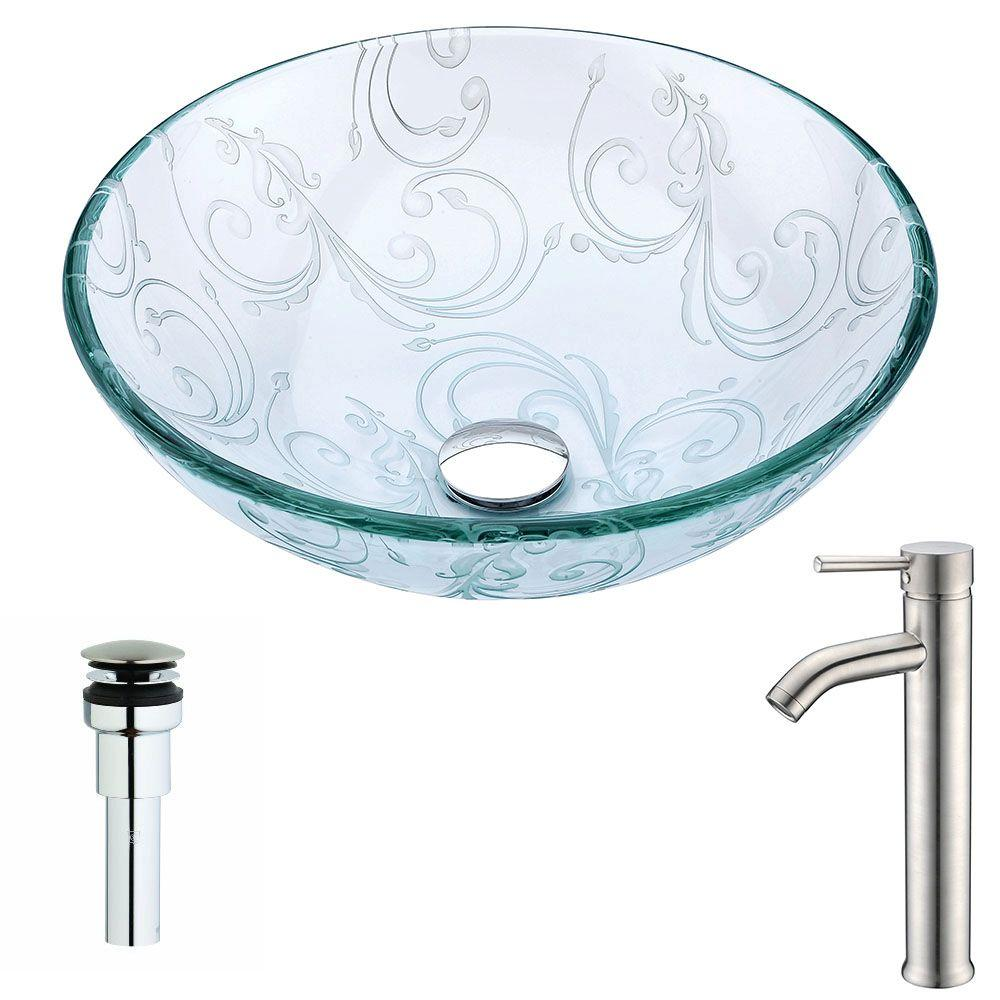 Vieno Series Deco-Glass Vessel Sink in Crystal Clear Floral with Fann