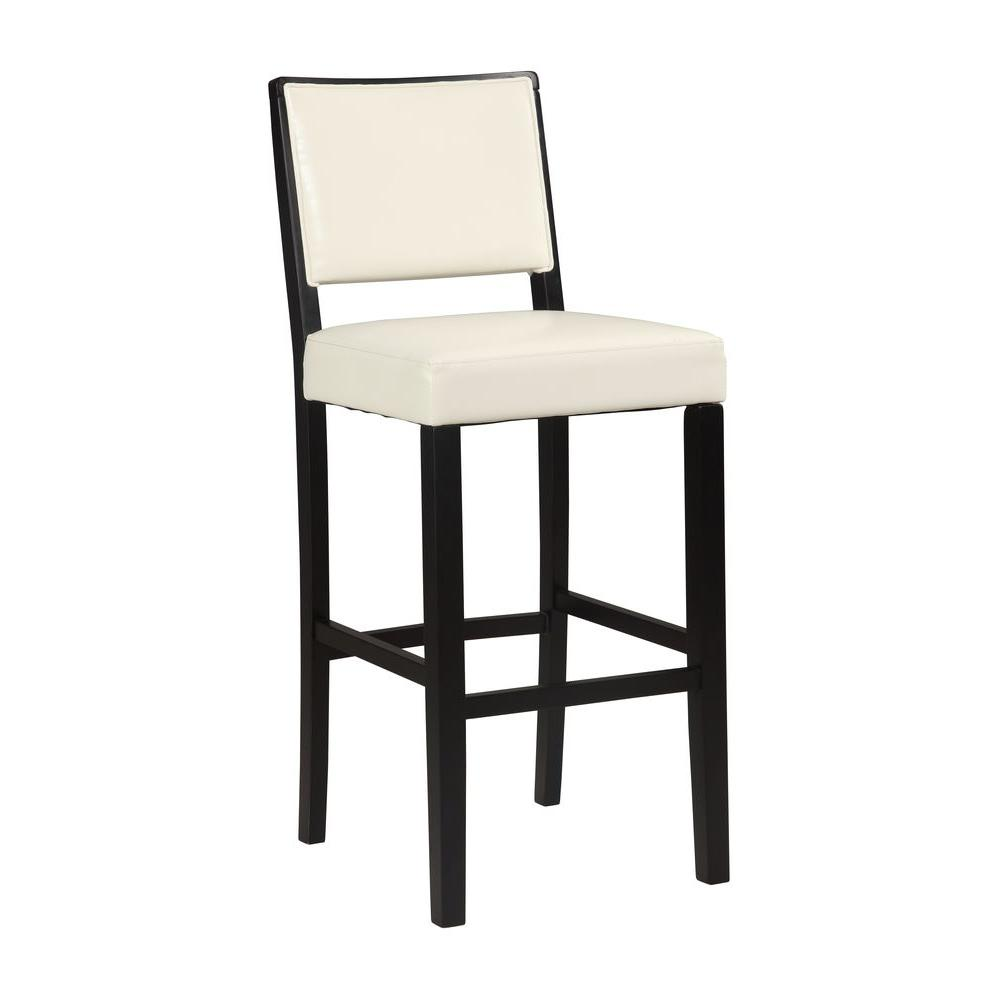 Linon home decor zoe 30 in white cushioned bar stool 022606wht01u the home depot Home depot wood bar stools