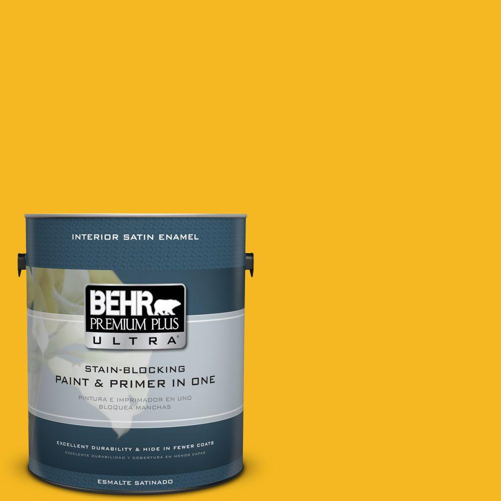 1 gal. #HDC-MD-02A Yellow Groove Satin Enamel Interior Paint