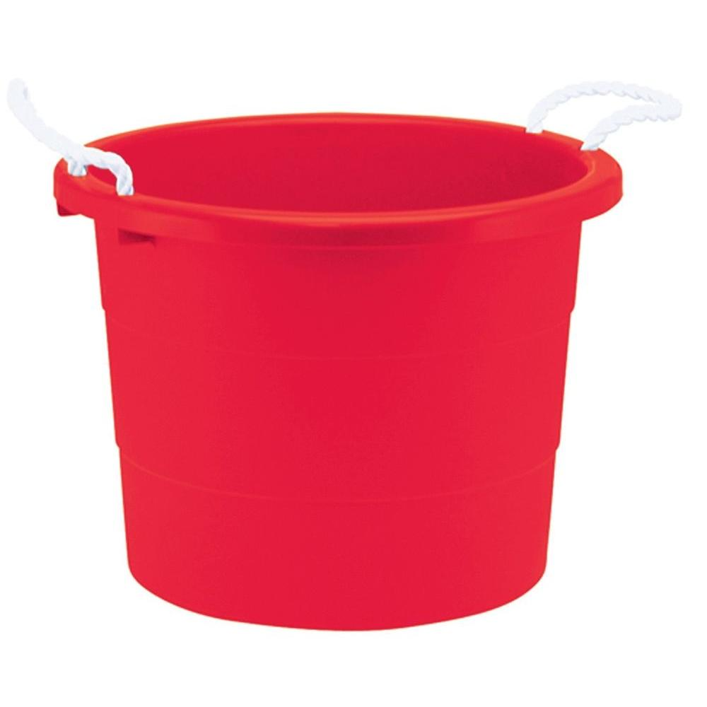 United Solutions 19-Gal. Rope Handle Tub in Cherry Red