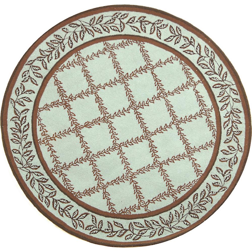 Chelsea Blue/Brown 4 ft. x 4 ft. Round Area Rug