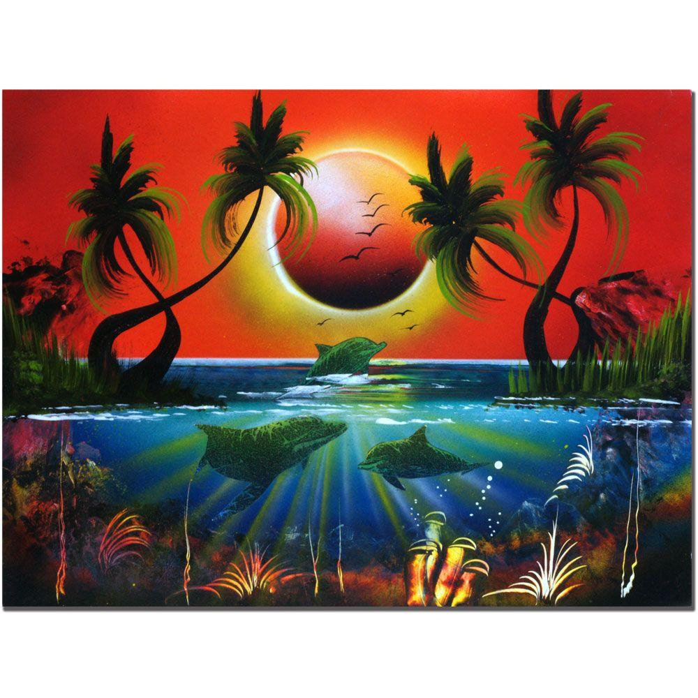 Trademark Fine Art 18 in. x 24 in. Dolphins at Sunset Canvas Art