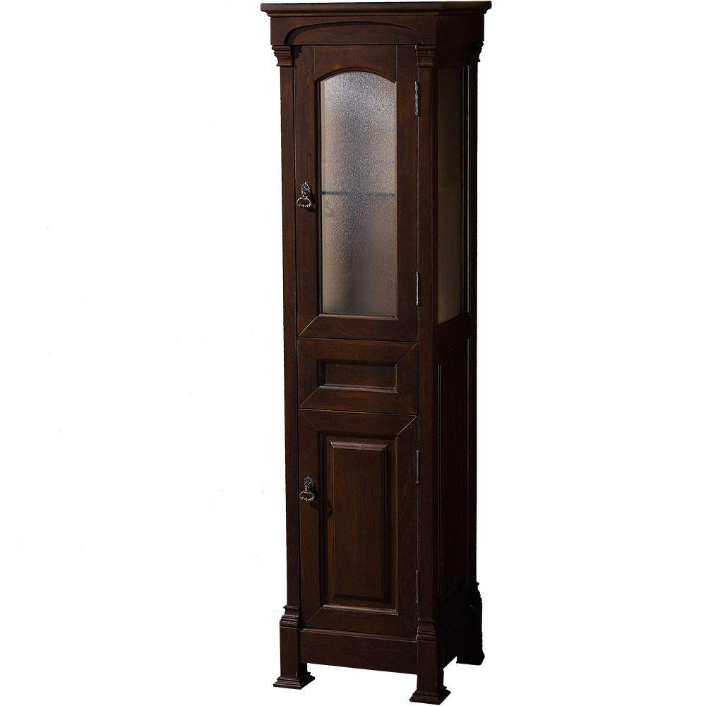 Wyndham Collection Andover 18 in. W x 16 in. D x 65 in. H Linen Tower in Dark Cherry