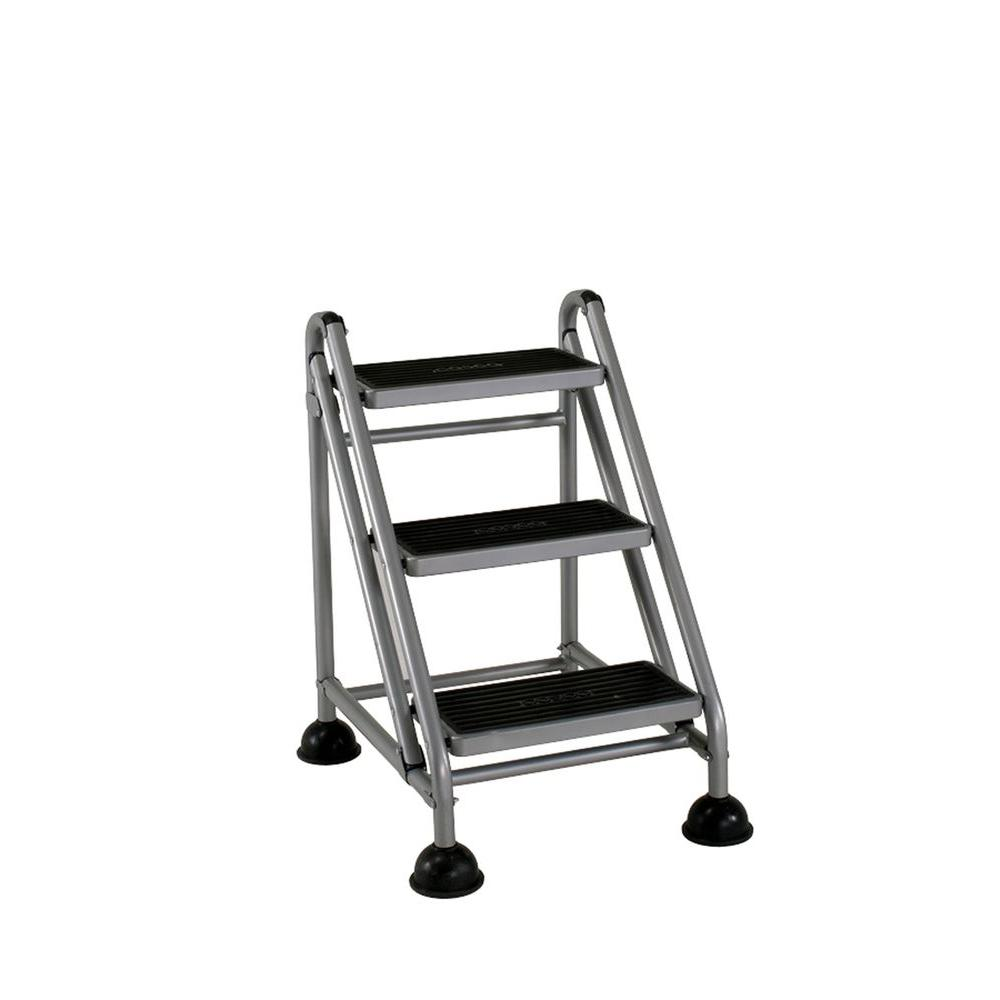 Step Stools: Cosco Stepstool 7 ft. 3-Step Rolling Steel Step Ladder 11834GGB1