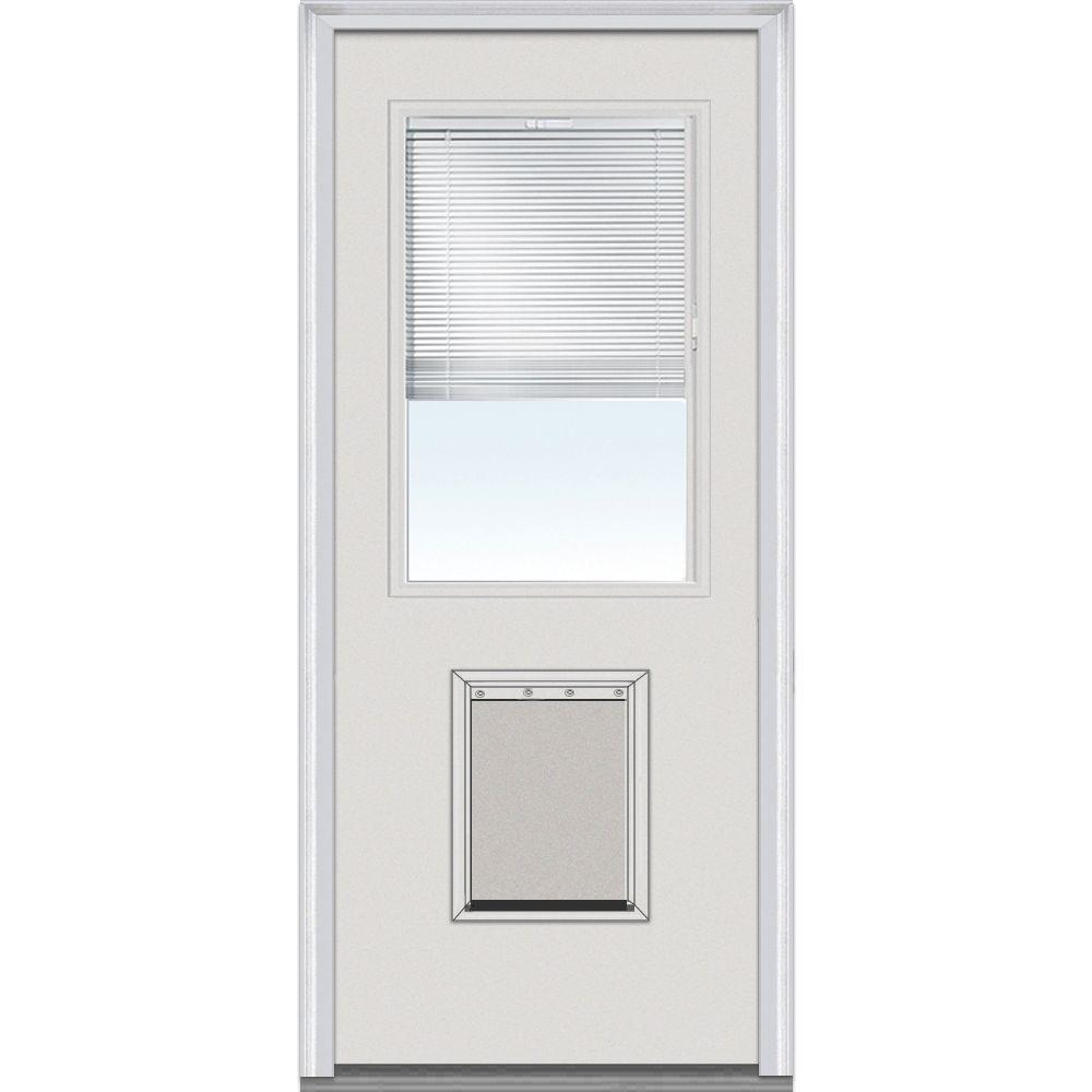 32 in. x 80 in. Classic Clear Glass RLB 1/2 Lite with Large Pet Door Painted Fiberglass Smooth Prehung Front Door, Brilliant White