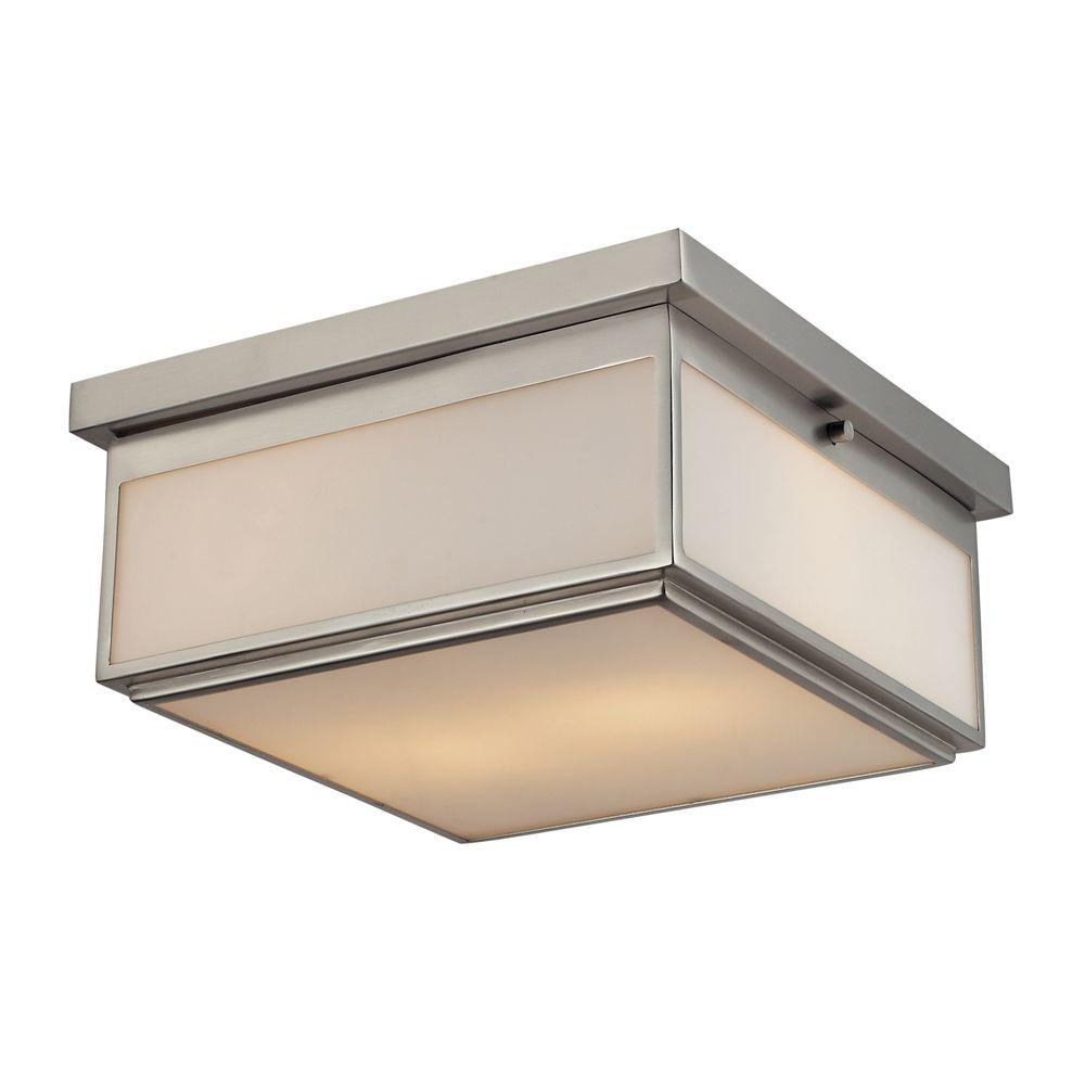Titan Lighting 2-Light Brushed Nickel Ceiling Flushmount-TN-7996 - The Home
