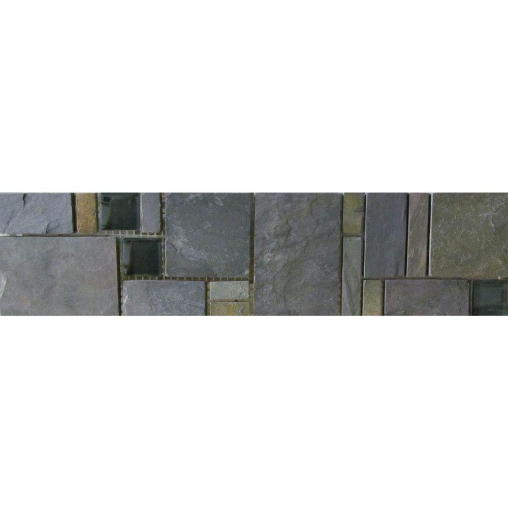 MARAZZI Natural Slate Multi-Color 3 in. x 12 in. x 8mm Porcelain Mosaic Floor and Wall Tile