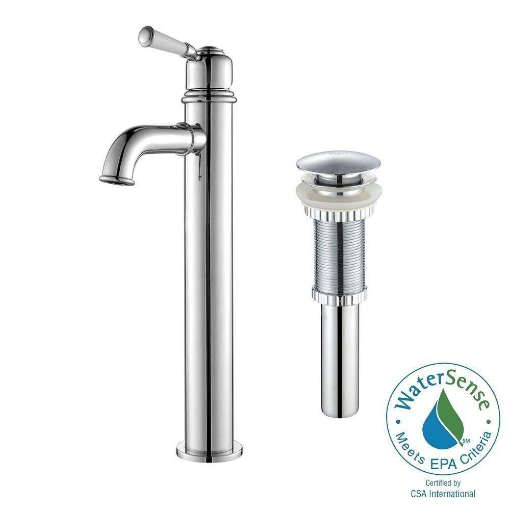 KRAUS Solinder Single Hole Single-Handle High-Arc Vessel Bathroom Faucet with
