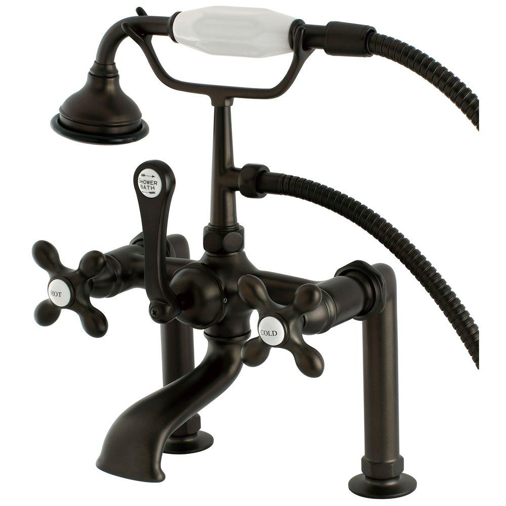 Cross 3-Handle Deck-Mount High-Risers Claw Foot Tub Faucet with Hand Shower