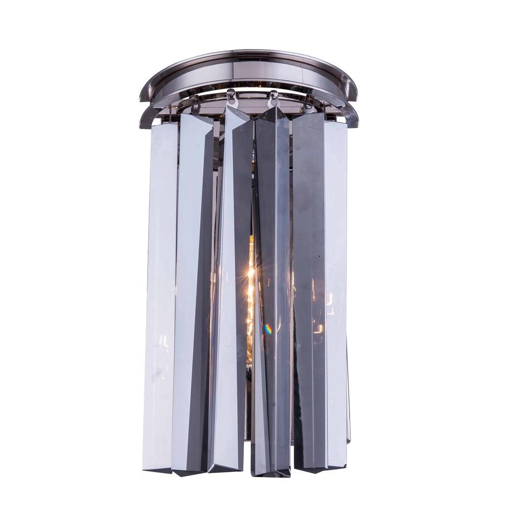Elegant Lighting Sydney 2-Light Polished Nickel Wall Sconce with Silver Shade