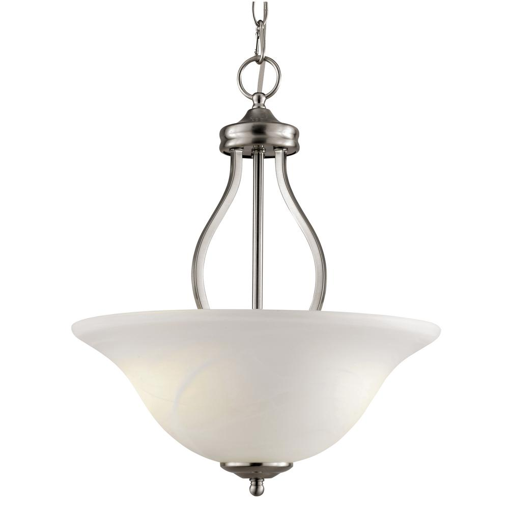 3-Light Brushed Nickel Pendant with Marbleized Glass