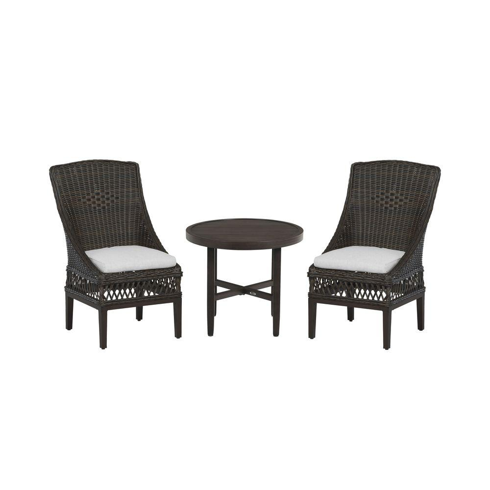 Hampton Bay Woodbury 3-Piece Patio Bistro Set with Cushion Insert (Slipcovers Sold Separately)