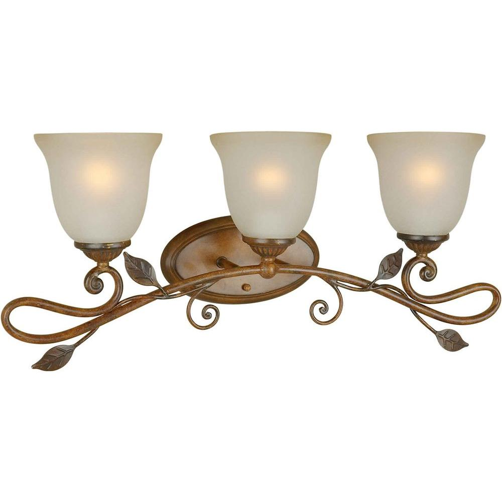Illumine 3 Light Bath Vanity Rustic Sienna Finish Shaded Umber Glass-DISCONTINUED
