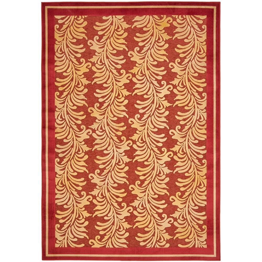 Martha Stewart Living Plume Stripe Red 7 ft. 10 in. x 11 ft. 2 in. Area Rug
