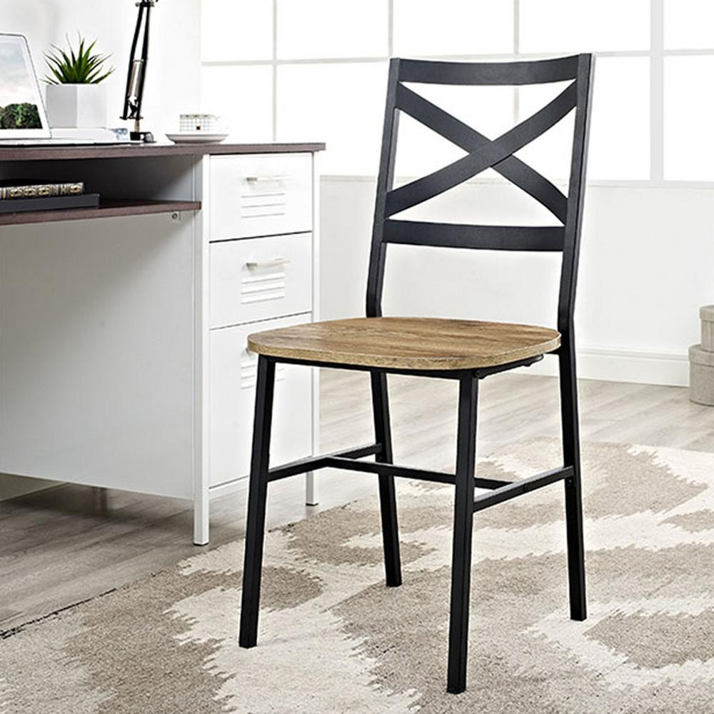 Walker Edison Furniture Company Angle Iron X Back Barnwood Metal And Wood Dining Chairs Set Of