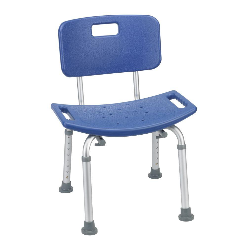 Drive Bathroom Safety Shower Tub Bench Chair with Back in Blue