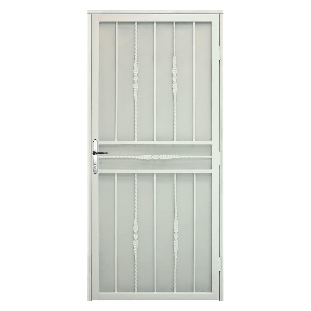 Unique Home Designs 36 in. x 80 in. Cottage Rose Navajo White RH Recessed Mount Security Door with Expanded Screen and Nickel -DISCONTINUED