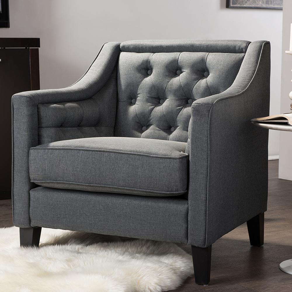 Vienna Contemporary Gray Fabric Upholstered Accent Chair