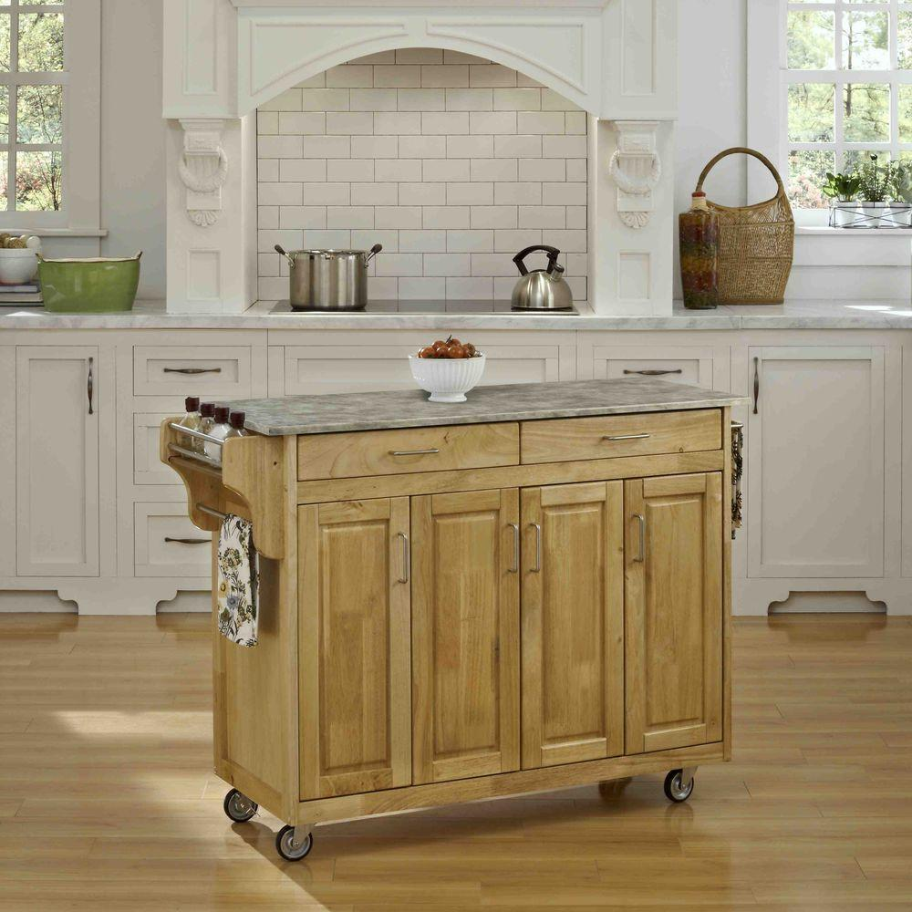 Create-a-Cart Natural Kitchen Cart With Concrete Top