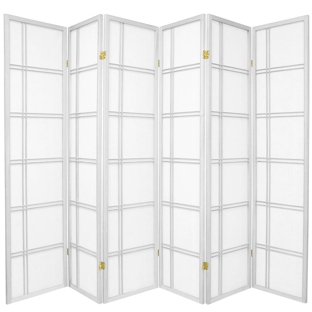Oriental Furniture 6 ft. x 9 ft. 6-Panel White Double Cross