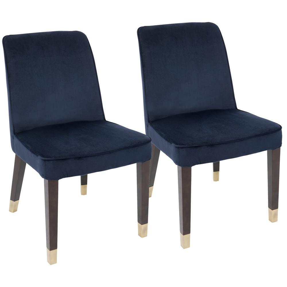 Lumisource Zora Navy Blue and Gold Dining Chair (Set of 2)-DC-ZORA ...